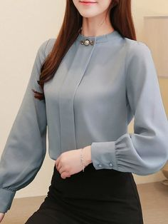 Product number brand name fashionnano gender Woman season autumn Material Chiffon Pattern type Solid color Sleeve Length Long sleeve style Street style Wearing occasion Vacation Size S M L XL Length (inch) Shoulder (inch) Sleeve length (in Blouse Styles, Blouse Designs, Winter Club Outfits, Blue Dress Outfits, Bluse Outfit, Sleeves Designs For Dresses, Frack, Blouses For Women, Fashion Outfits