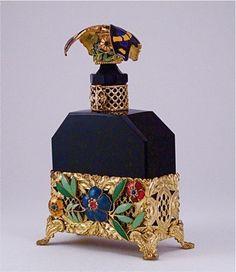 1920s Hoffmann Czech Black Perfume Bottle
