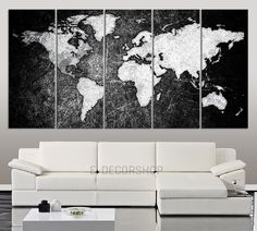 LARGE CANVAS ART - Black White World Map Canvas Print - World Map 5 Piece Canvas Art Print