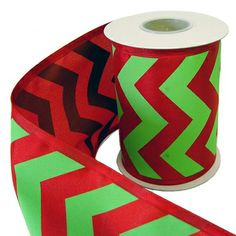 Lime Green and Red Chevron Stripe Ribbon 5 x 10 yd Poly Wire Edge Ribbon is printed on one side Old World Christmas, Christmas Ideas, Merry Christmas, Chevron Ribbon, Red Chevron, Christmas Ribbon, Christmas Wreaths, Christmas Decorations, Wreath Making Supplies