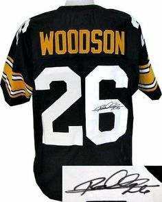 Rod Woodson Autographed/Hand Signed Pittsburgh Steelers Black Prostyle Jersey by Hall of Fame Memorabilia. $212.95. Rod Woodson holds the NFL records for career interception return yardage (1483) and interception returns for touchdowns (12) and was named the NFL Defensive Player of the Year in 1993. His 71 career interceptions is the 3rd-most in NFL history. He was an inductee of the Class of 2009 of the Pro Football Hall of Fame in Canton Ohio on August 8 2009. ...