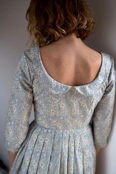 Open Back Dress Floral Print Dress Cotton Poplin Dress