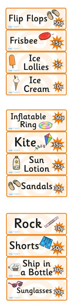 Seaside Souvenir Shop Price Labels- Pop over to our site at www.twinkl.co.uk and check out our lovely Seaside primary teaching resources! seaside, souvenir, activity #Seaside #Seaside_Resources