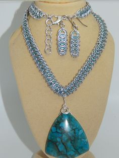 Natural Blue Jasper Pendant on hand-made Chain Maille Set  in Jewellery & Watches, Handcrafted Jewellery, Sets | eBay!