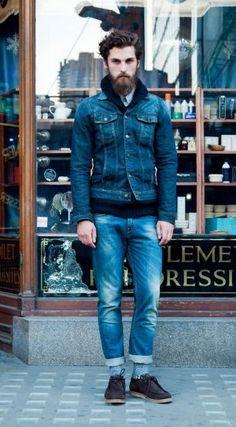denim street style. Men's Outfits, Outfits for men, Men's Fashion, Men Fashion, Men Clothing