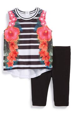 Nicole+Miller+Floral+Mesh+Tank+&+Leggings+(Baby+Girls)+available+at+#Nordstrom
