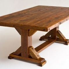 Reclaimed Wood Trestle Dining Table - Reclaimed barn wood beams, planks &…