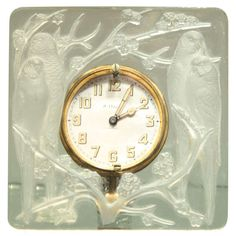 "Art Deco Clock ""Inseparables"" by Rene Lalique 