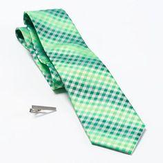 Apt. 9 Lapis Shaded Gingham-Checked Tie & Tie Bar Set - Men