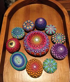 Mandala stone. Handmade by me. Original rock dot art. Dot painting. Painted stone.
