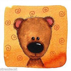 Original Watercolor Painting Whimsical Animal Portrait Teddy Bear Orange Swirls | eBay