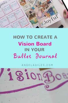Learn how to create a vision board in your bullet journal so that you can visual your own goals. This easy step by step tutorial on how to make your own vision journal; a bullet journal vision board is perfect for the creative bujo addict in Vision Journal Ideas, Bullet Journal Vision Board, Creating A Bullet Journal, Bullet Journal Notebook, Bullet Journal Hacks, Bullet Journal How To Start A, Bullet Journal Layout, Bullet Journal Inspiration, Bullet Journals