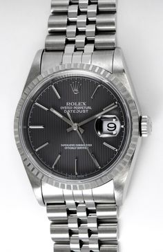 Rolex - Datejust : 16220 gray tapestry dial on Jubilee bracelet : Bernard Watch