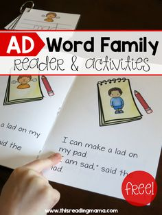 AD Word Family Reader and Activities - free - This Reading Mama