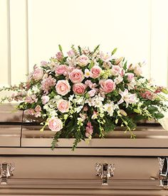 Sympathy / Memorial / Funeral Arrangements and Casket Sprays Flowers For Mom, White Flowers, Beautiful Flowers, Elegant Flowers, Colorful Flowers, Pink Roses, Casket Flowers, Funeral Flowers, Deco Floral