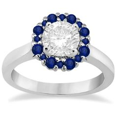 Prong Set Halo Blue Sapphire Engagement Ring 18k White Gold (0.68ct), Women's, Size: 10