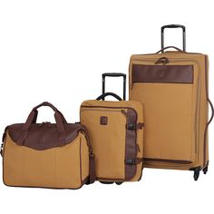 It Luggage Calico Lite Natural Canvas 3 Piece Luggage Set ($90) ❤ liked on Polyvore featuring men's fashion, men's bags, luggage, luggage sets and yellow