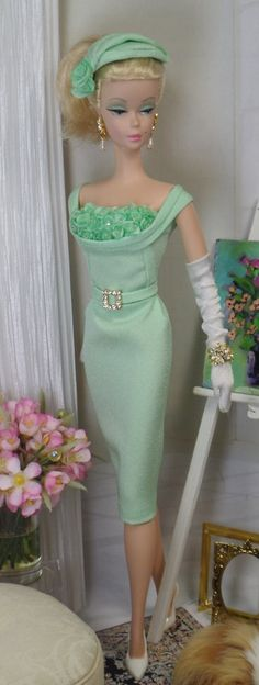 Ming Celadon, a cocktail sheath cut from celadon crepe, fully lined in china silk, featuring a draped bodice with florals, sequin and bead detail,  for Silkstone Barbie and Victoriea by MatisseFashions via Etsy  $85.00