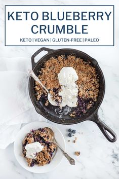 This vegan keto blueberry crumble is gluten-free, paleo, and made from wholesome, nutritious ingredients including blueberries, almond flour, coconut flour, pecans, flax and coconut oil. Have this healthy dish ready in just 30 minutes and serve it as dessert or even breakfast! #blueberryrecipes #blueberrycobbler #blueberrycrumble #ketoblueberryrecipes #ketovegan #castironskilletrecipes Vegan Keto, Vegan Gluten Free, Gluten Free Recipes, Low Carb Recipes, Dairy Free, Healthy Recipes, Ketogenic Desserts, Low Carb Desserts, Keto Snacks
