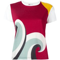 Red Valentino Wave Print T-shirt ($275) ❤ liked on Polyvore featuring tops, t-shirts, print tees, colorful tops, red valentino, colorful t shirts and pattern tees