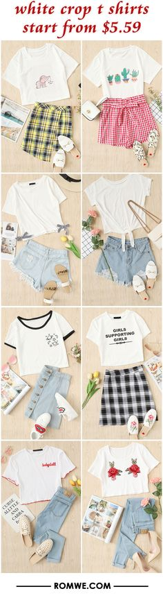 white crop t shirts from $5.59