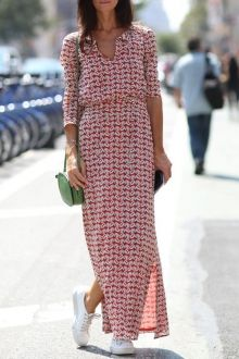 Spring style print Maxi Dress with sneakers