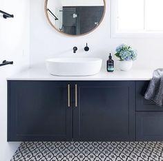 Ideas Bathroom Dark Blue Walls Vanities For 2019 Dark Blue Bathrooms, Blue Bathroom Vanity, Small Bathroom Paint, Blue Vanity, Laundry In Bathroom, White Bathroom, Bathroom Interior, Ikea Bathroom, Bathroom Vanities