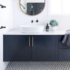 Ideas Bathroom Dark Blue Walls Vanities For 2019 Dark Blue Bathrooms, Blue Bathroom Vanity, Blue Vanity, Laundry In Bathroom, Downstairs Bathroom, White Bathroom, Bathroom Faucets, Bathroom Interior, Ikea Bathroom