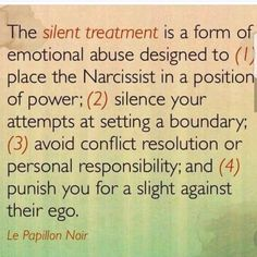 I was punished with silent treatment countless times. It was definitely my exn& & to& move. Silent treatment and then abandonment. It… Source by slgdkrl Narcissistic People, Narcissistic Abuse Recovery, Narcissistic Behavior, Narcissistic Sociopath, Narcissistic Personality Disorder, Silent Treatment Quotes, The Silent Treatment, Abusive Relationship, Relationships
