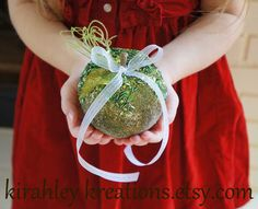 GREEN GLITTER APPLE -- Ring Bearer Alternative to the Traditional Pillow, Christmas Holiday Winter Wedding, Unique for Ceremony Vows. $24.00, via Etsy.