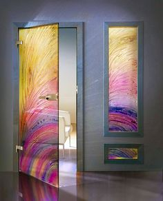 fused glass doors