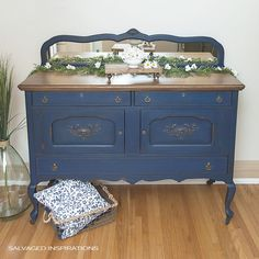 Salvaged Inspirations Bunker Blue Painted Buffet | Dixie Belle Paint Giveaway on the SI Blog!