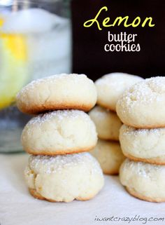 Lemon Butter Cookies--After I made these cookies, I thought it would be great to add powdered sugar to the outside to bind them together, but it just burned them, so stick with the recipe. So far, the edges have burned and the cookie tastes like its been fried in butter... I'm not sure I'm going to try this one again.