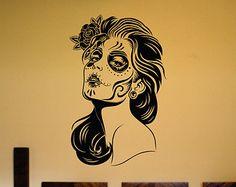Wall Vinyl Sticker Decals Decor Art Bedroom Design Mural Extra Large Day of the Dead Woman Skull Sugar Skull Sugarskull