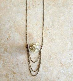 Baby's Breath Pendant Necklace with Draping Chains//