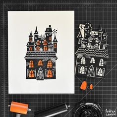 Andrea Lauren (@inkprintrepeat) | Carving and printing this halloween haunted house block this morning! Used some small leftover pieces for a little color in the windows. | Intagme - The Best Instagram Widget