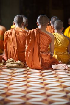 Monks saying their evening prayers in Wat Bo Temple, Siem Reap, Cambodia