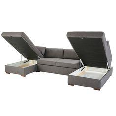 Grey 7-Seater U-Shaped Sofa Bed   Maisons du Monde