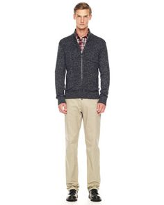 Michael Kors Marbled Front-Zip Sweater, Check Chambray Shirt & Stretch Twill Pants .