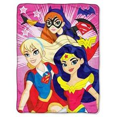 "Give her some girl power with the DC Girls 46x60"" Micro Throw in Multi Colored. Large and plush, she'll love snuggling up in this super-hero-themed throw. It features 3 super gals and vibrant colors that are sure to be a hit. This durable throw is not only soft and cute, it's machine washable for easy care."