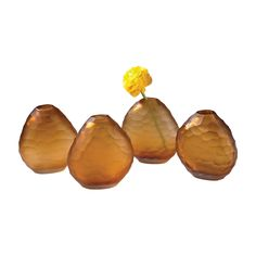 Cut Pebble Vases In Amber - Set of 4 Amber