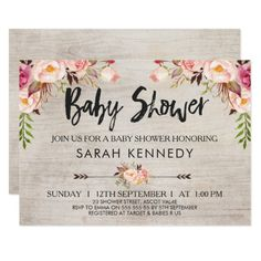 Floral Boho Rustic Baby Shower Invitation Looking for a floral boho or tribal baby shower invitation? This design features three floral arrangements and two arrows on a watercolor wood grain background. I've also added some modern brush calligraphy text for the heading. This design is rustic but elegant at he same time. It's suitable for someone who loves watercolor invitations and bohemian style invitations. #ad