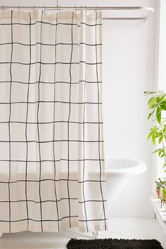Slide View: 1: Wonky Grid Shower Curtain