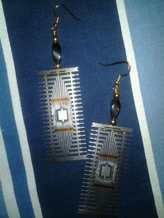 Hand made Computer Chip earrings, the shiny metallic part is a specialized type of computer component