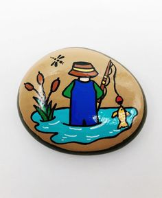 Father's Day Rock Gone Fishing Rock Father's Day Painted River Rocks, Hand Painted Rocks, Painted Stones, Painted Pebbles, Rock Painting Patterns, Rock Painting Designs, Tulip Painting, Stone Painting, Pebble Painting