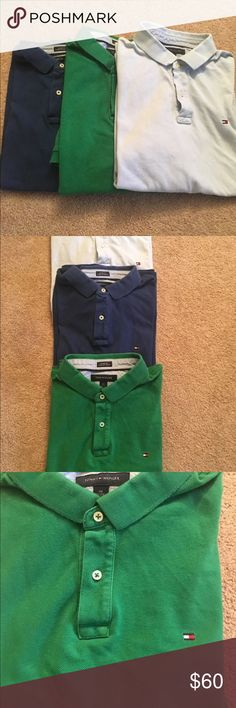Lot of 3 Tommy Hilfiger Men's XXL Polo Shirts Lot of 3 Tommy Hilfiger Men's 100% Cotton XXL Designer Polo Shirts  There are a few small markings/stain on the baby blue polo towards the bottom  Overall the shirts are in nice shape Tommy Hilfiger Shirts Polos