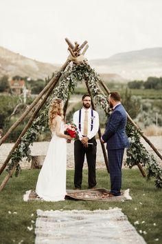 Boho-Vintage Vineyard Wedding Ceremony