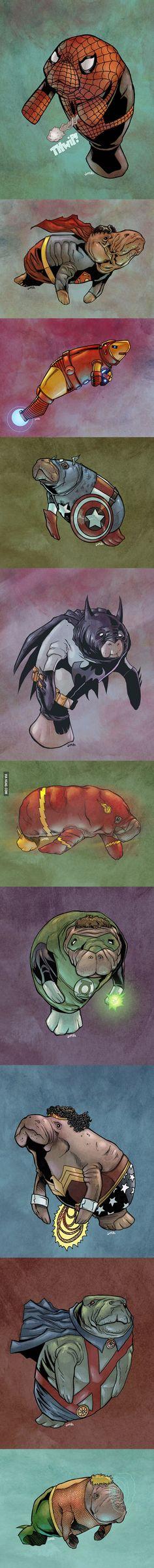 Superheroes as Manatees