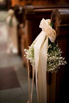 Church Wedding Aisle Decor - baby's breath is pretty, affordable and lovely