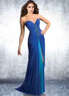 Shimmer by Bari Jay 59403 - Cobalt Strapless Prom Dress with a Sexy Center Slit